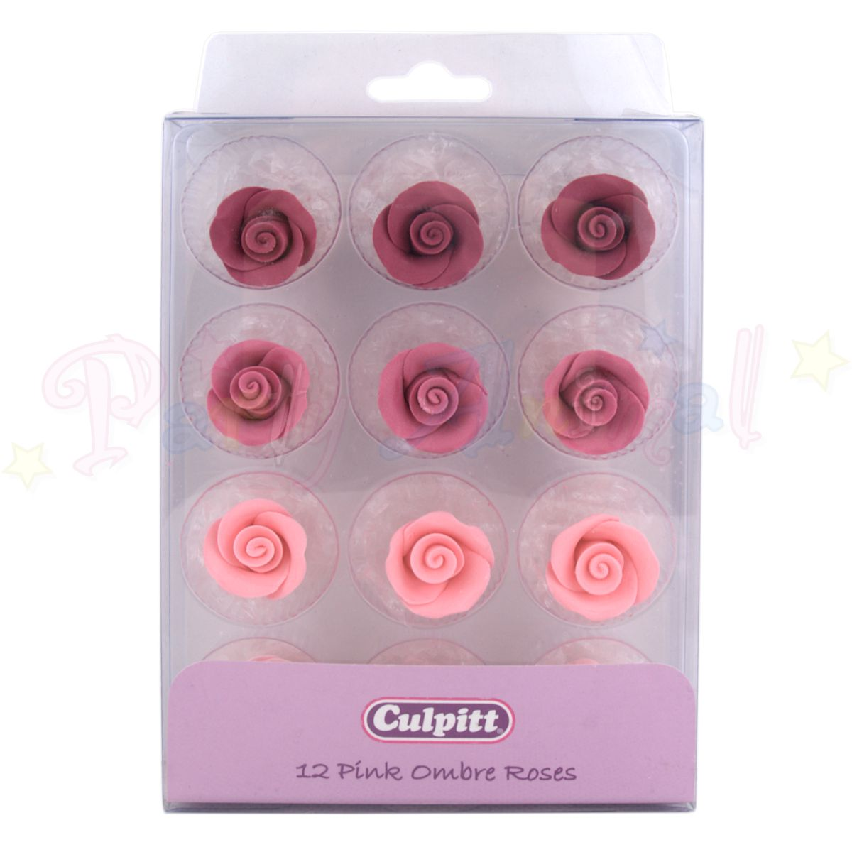 Culpitt -12 Pink Ombre Edible Rose Toppers