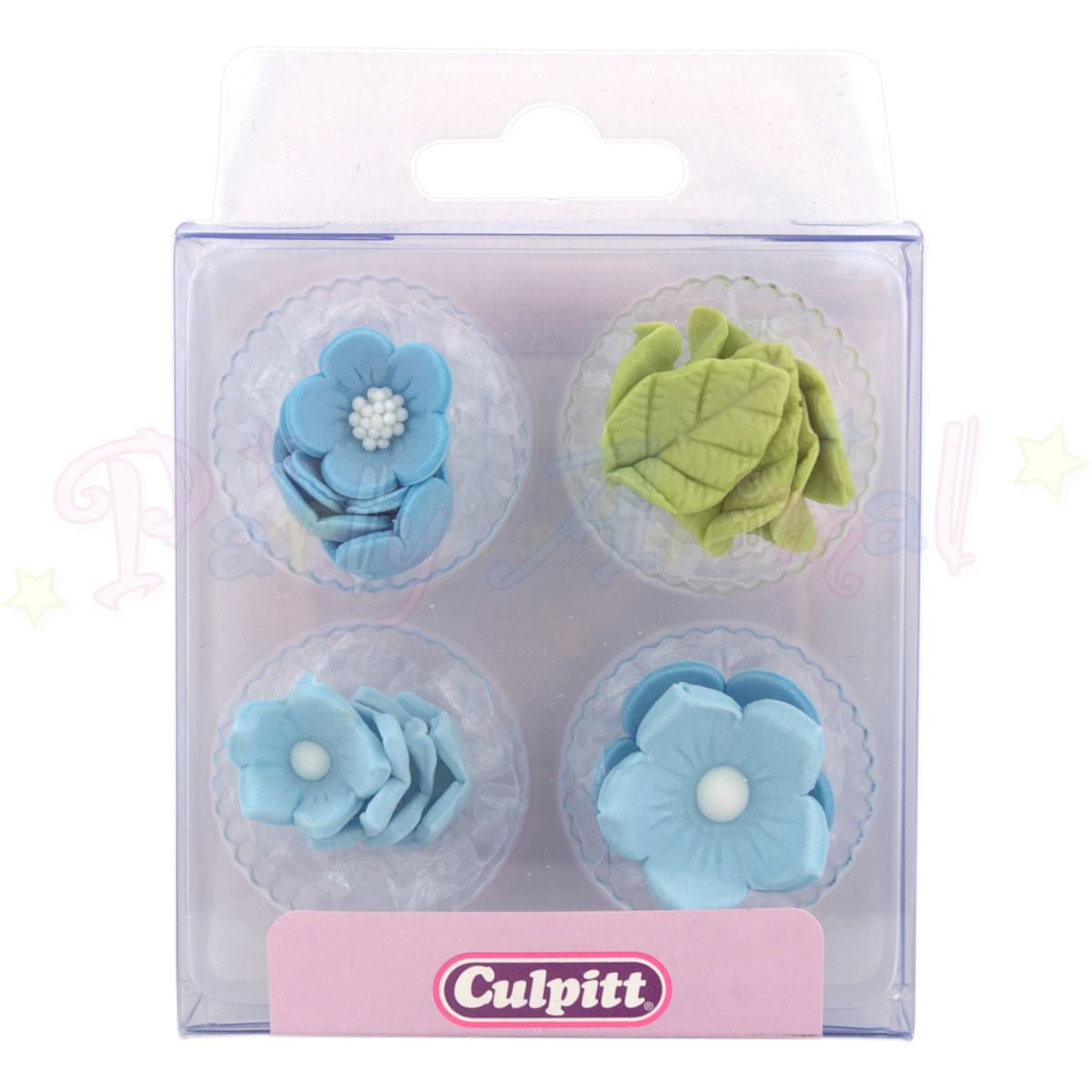 Culpitt Edible Decorations BLUE FLOWERS Cupcake Toppers