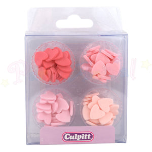 Culpitt Edible Piped Decorations MINI HEARTS 100 Cupcake Toppers