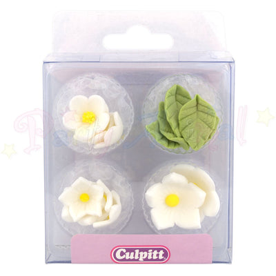 Culpitt Edible Sugar Decorations WHITE FLOWERS Cupcake Toppers