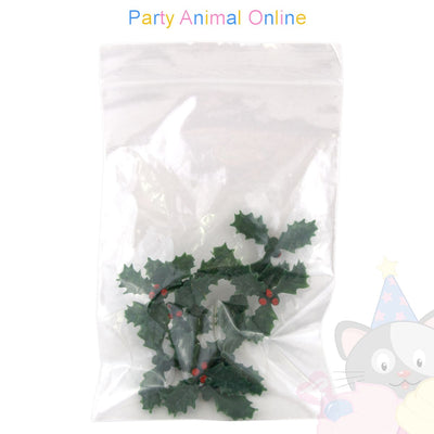 Christmas Cake Topper Set - Plastic Holly 38mm Pack of 10