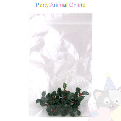 Christmas Cake Topper Set - Plastic Holly 25mm Pack of 20