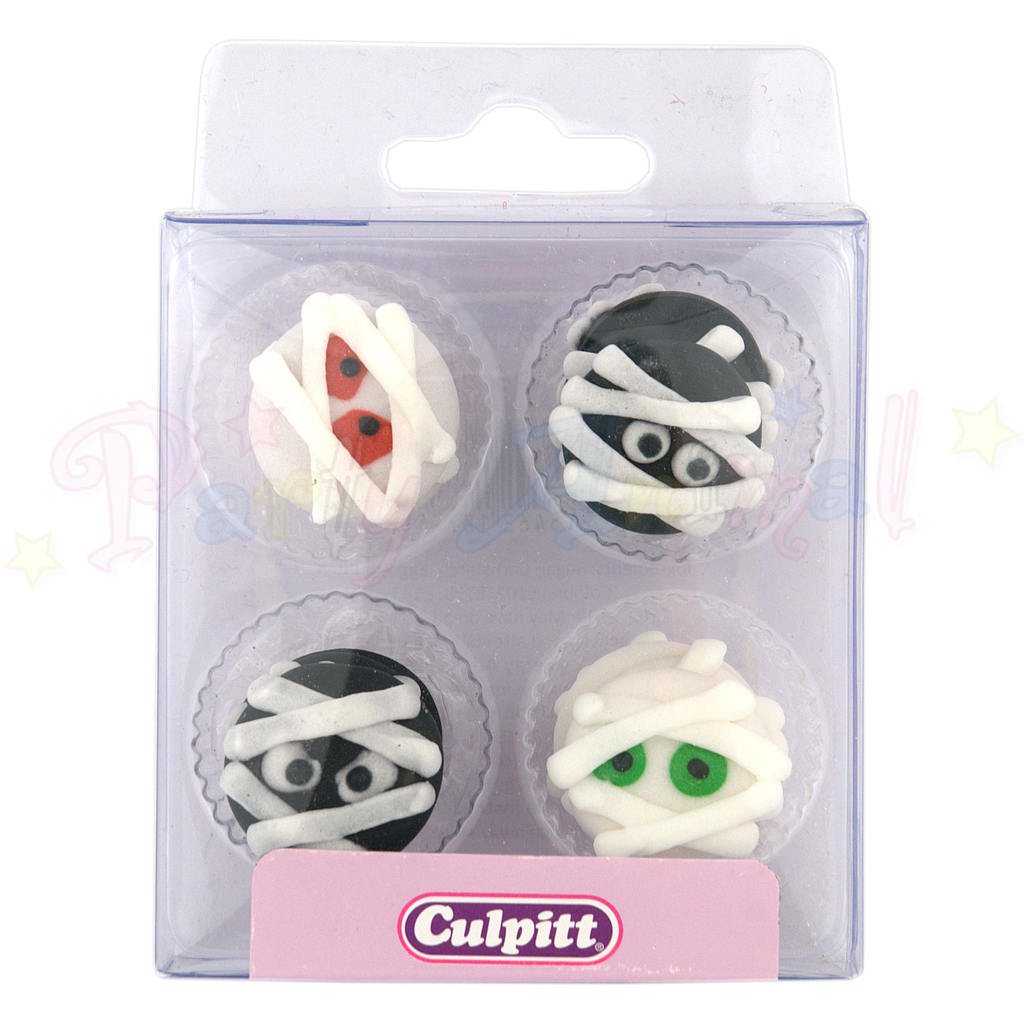 Culpitt Edible Piped Decorations - Halloween Mummy - Cupcake Toppers