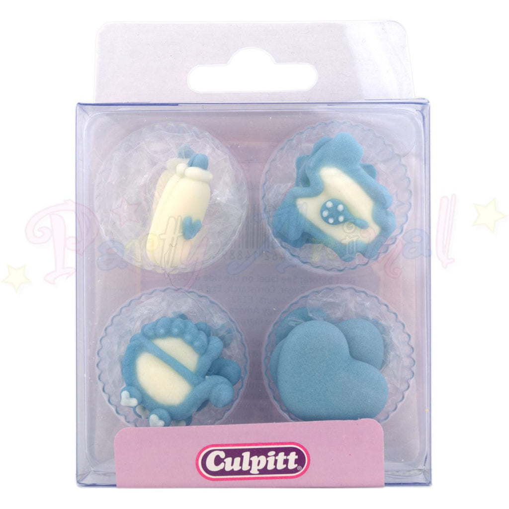 Culpitt Edible Piped Decorations BLUE BABY Assortment 12 Cupcake Toppers