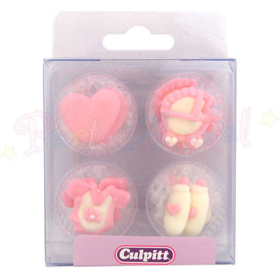 Culpitt Edible Piped Decorations PINK BABY Assortment 12 Cupcake baby Toppers
