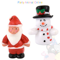 Christmas Cake Topper Set - Santa and Snowman Set of 2