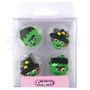 Culpitt Edible Piped Decorations - Halloween Monsters - Cupcake Toppers