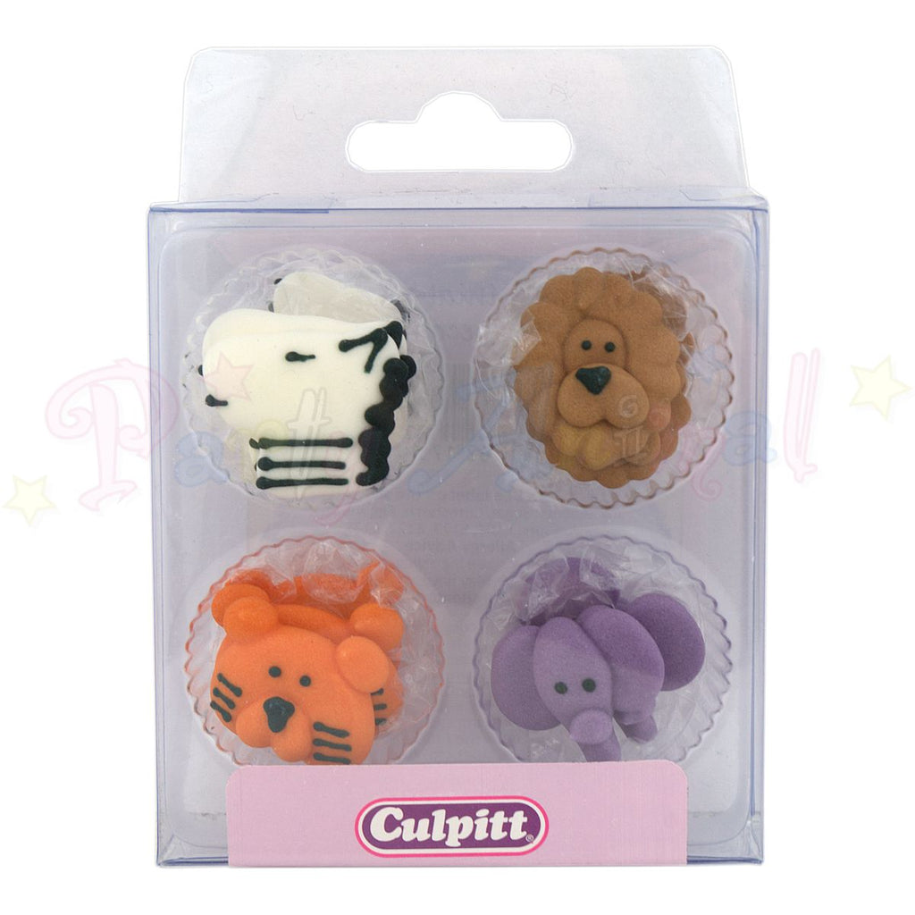 Culpitt Edible Piped Decorations ANIMAL FACES Set of 12 Cupcake Toppers