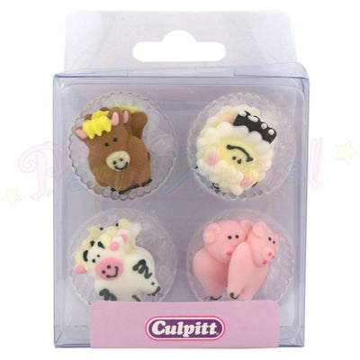 Culpitt Edible Piped Decorations FARMYARD ANIMALS Set of 12 Cupcake Toppers