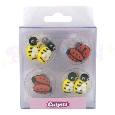 Culpitt Edible Piped Decorations BEES & LADYBIRDS Set of 12 Cupcake Toppers