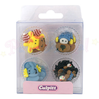 Culpitt Edible Piped Decorations PARTY ANIMALS Set of 12 Cupcake Toppers