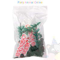 Christmas Cake Topper Set - Merry Christmas Red