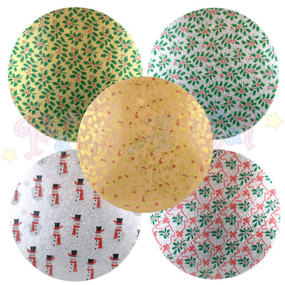 ROUND Double Thick Christmas Themed Cake Board - 10