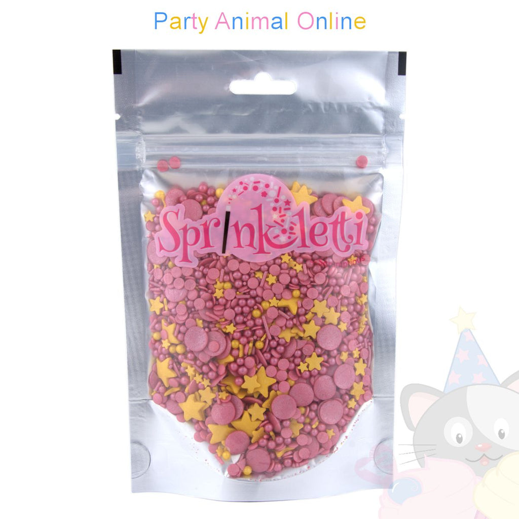 Sprinkletti - Edible Sprinkles Range - Raspberry Fizz Mix 100g