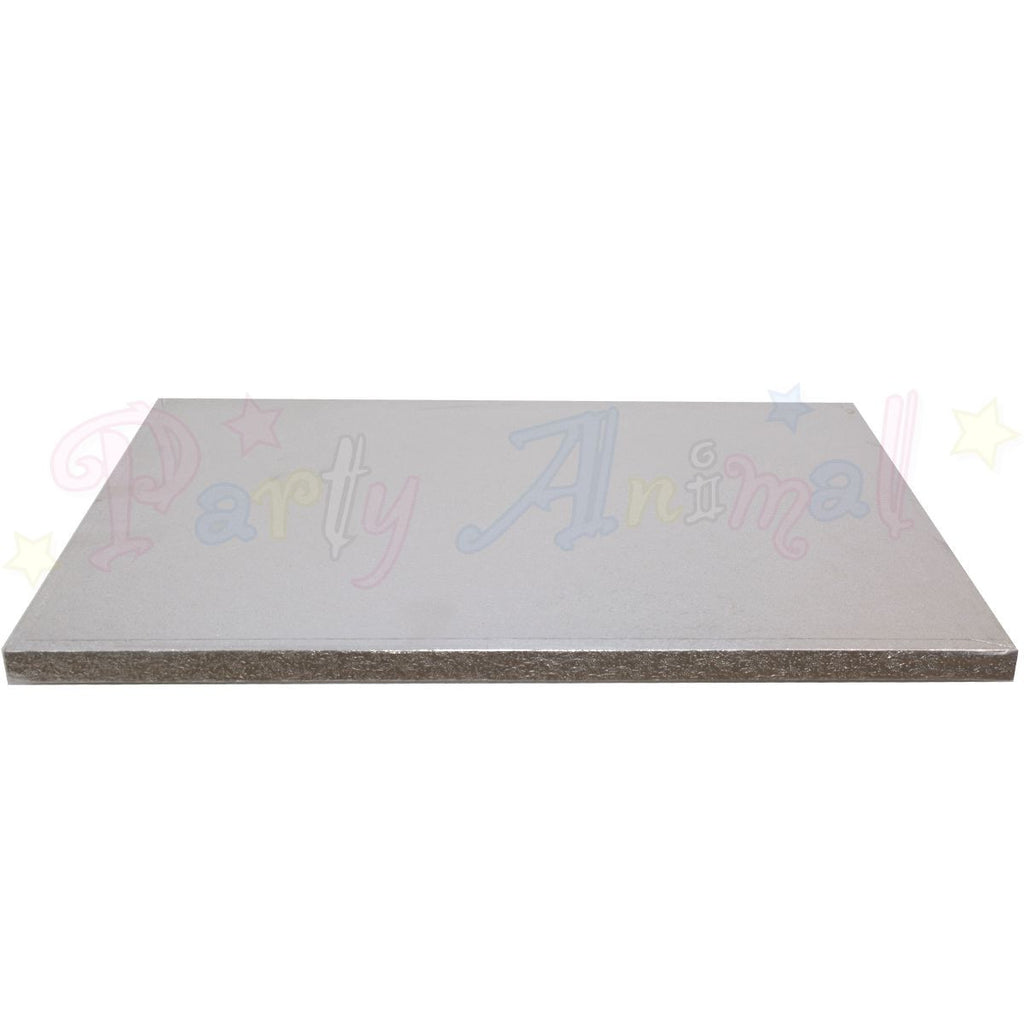 "OBLONG Drum Cake Boards - 14x10"" Silver Foil"