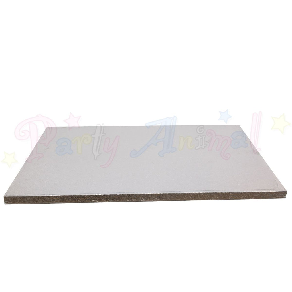 "OBLONG Drum Cake Boards - 16x12"" Silver Foil"