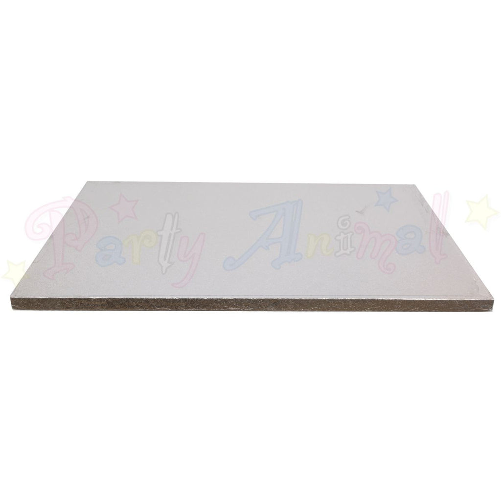 "OBLONG Drum Cake Boards - 16x14"" Silver Foil"