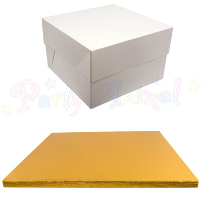 SQUARE Drum Cake Board and Box Set - GOLD Drum - Choose Size