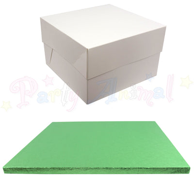 SQUARE Drum Cake Board and Box Set - PALE GREEN Drum - Choose Size
