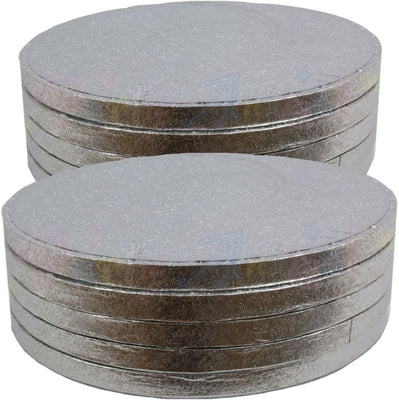 ROUND Drum Cake Boards - Silver Foil - PACK of 10 - Choose Size