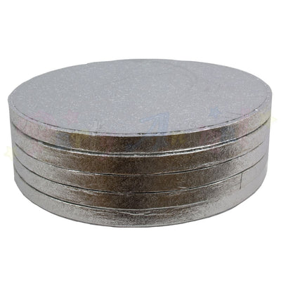 ROUND Drum Cake Boards - Silver Foil - PACK of 5 - Choose Size