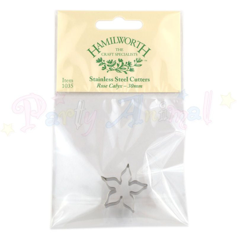 Hamilworth Metal Cutters - Rose Calyx - 30mm  - Stainless Steel