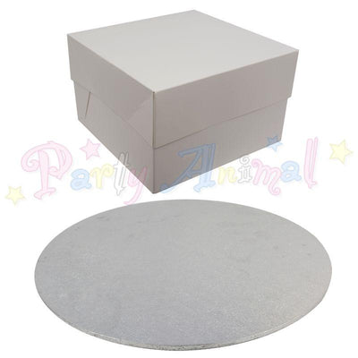 ROUND Hardboard Cake Board and Box Set - Pack of 5 - Choose Size