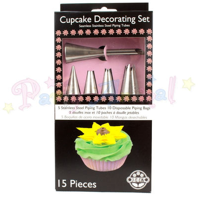 Cupcake decorating set NOZZLES & BAGS - 15 piece