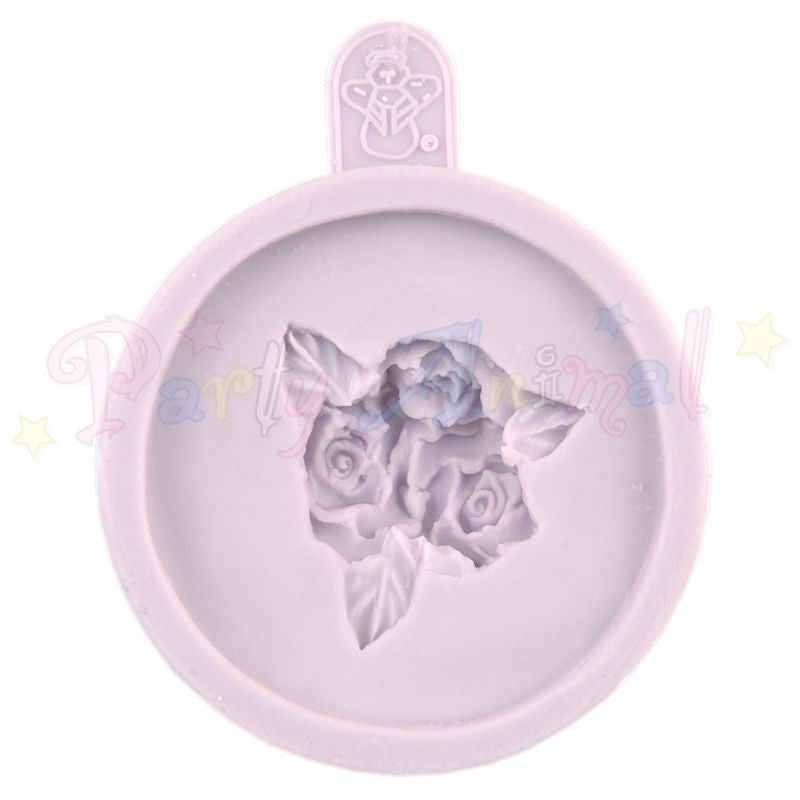 Karen Davies Cupcake Topper Mould - Three Small Roses