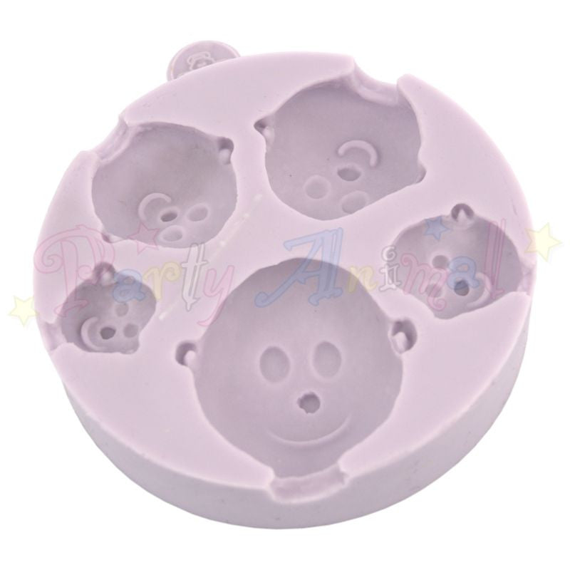 Five Size Head Mould From Karen Davies. High quality mould made of flexable silicon for creating sugarpaste faces. @partyanimalonline