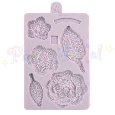 CROCHET FLOWER AND LEAF Mould From Karen Davies. High quality mould made of flexable silicon for creating sugarpaste faces. @partyanimalonline