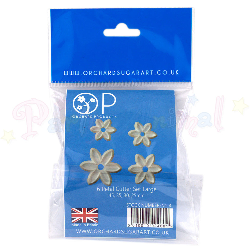 Orchard Products 6 Petal Flower Cutter Set N1, N2, N3, N4 - LARGE