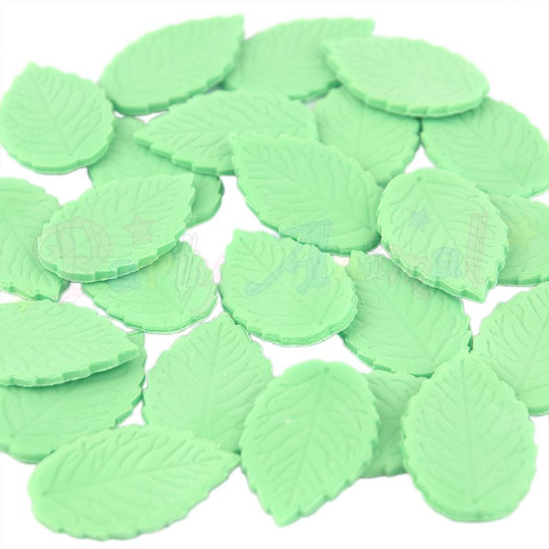 Party Animal Edible Green Rose Leaves - Mint Green - Pack of 24