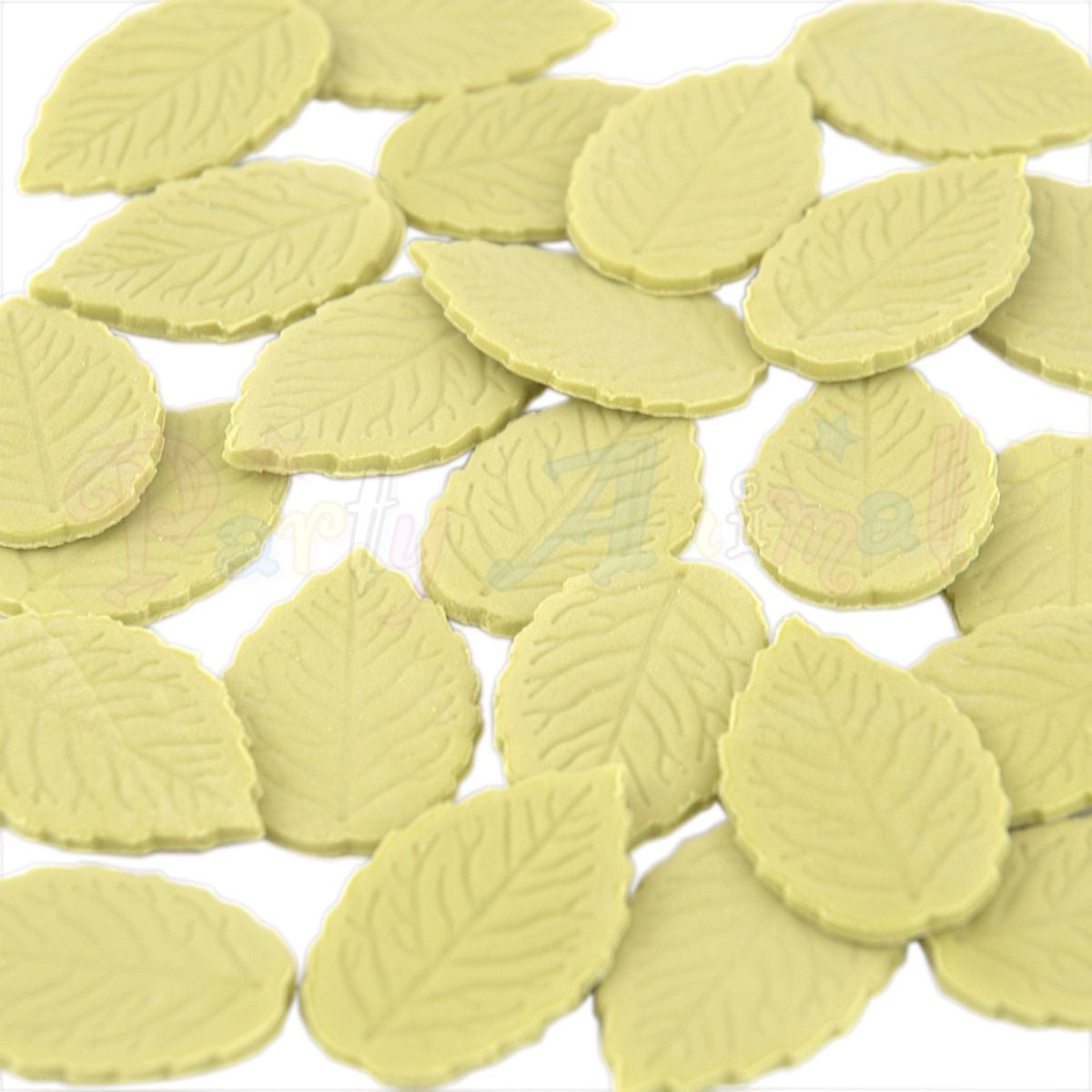 Party Animal Edible Green Rose Leaves - Olive Green - Pack of 24