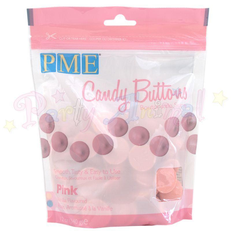 PME Candy Buttons PINK - Vanilla Flavoured 340g