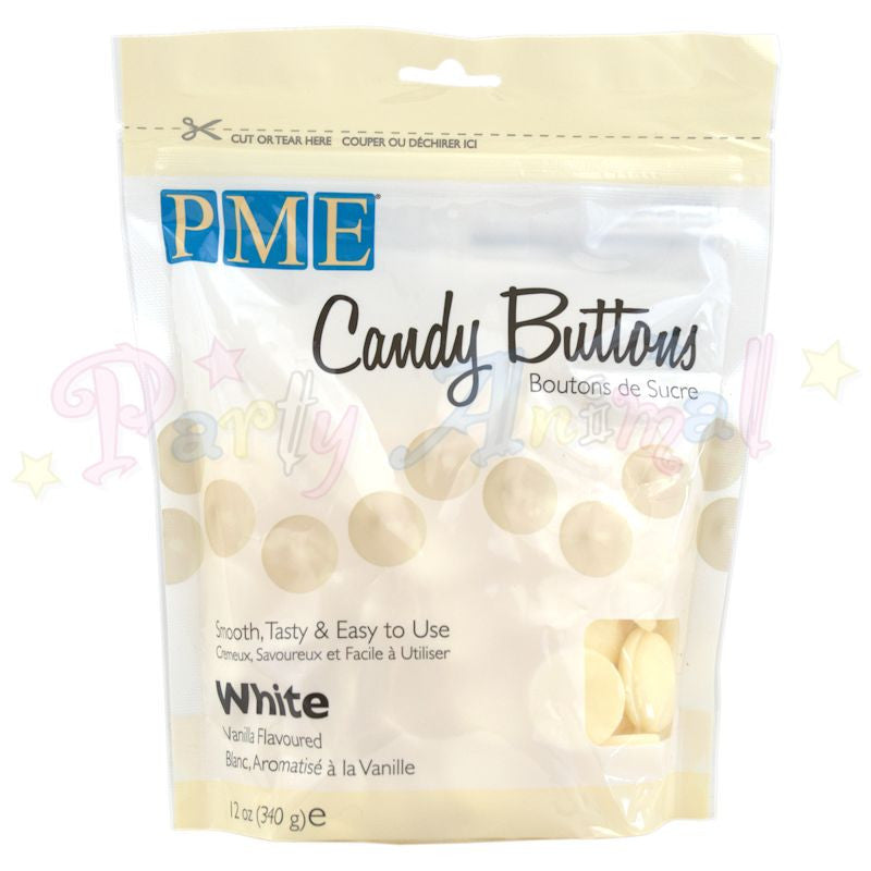 PME Candy Buttons WHITE - Vanilla Flavoured 340g