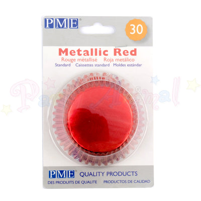 PME Bun / Cupcake Cases METALLIC RED - Pack of 30