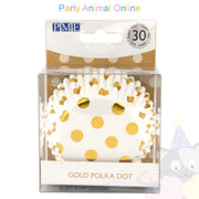 PME FOIL Baking Cases - GOLD POLKA DOT Pack of 30 Cupcake / Bun Cases