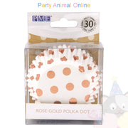 PME FOIL Baking Cases - ROSE GOLD POLKA DOT Pack of 30 Cupcake / Bun Cases