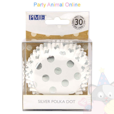 PME FOIL Baking Cases - SILVER POLKA DOT Pack of 30 Cupcake / Bun Cases