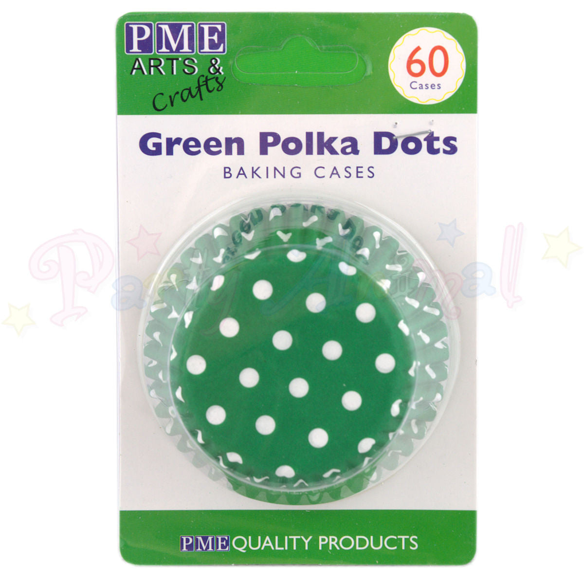 PME Bun / Cupcake Cases GREEN POLKA DOTS - Pack of 60
