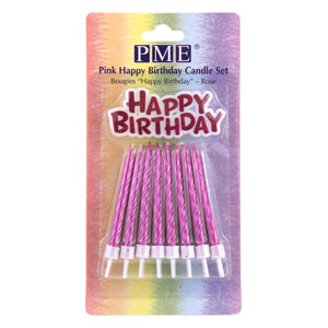 PME Birthday Candles and Motto - Pink