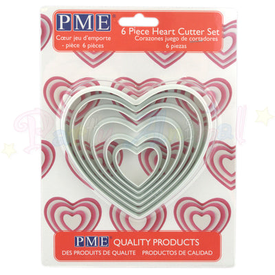 PME Plastic LARGE Cutters Set of 6 - HEART