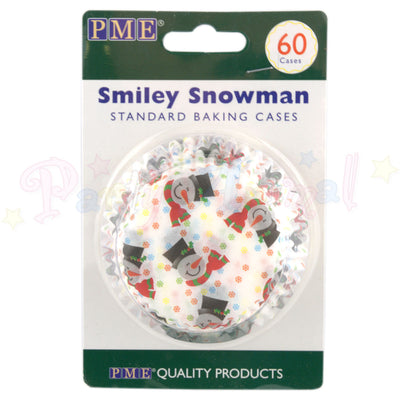 PME Bun / Cupcake Cases SMILEY SNOWMAN - Pack of 60