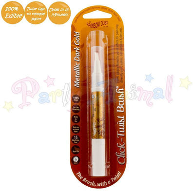 click twist brush. metallic dark gold. for cake decorating. from partyanimalonline. rainbow dust