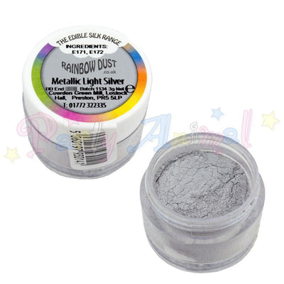metallic light silver. rainbow dust. edible. cake decorating . partyanimalonline. image