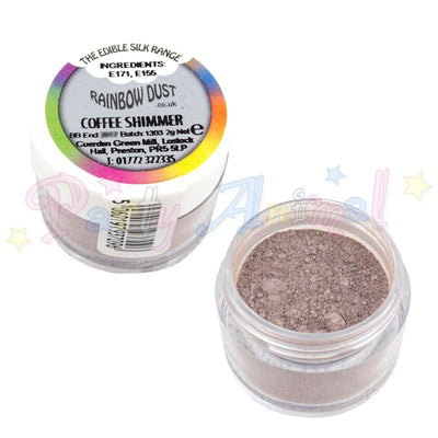 Coffee Shimmer Pearl edible. Image Rainbow Dust. Partyanimalonline