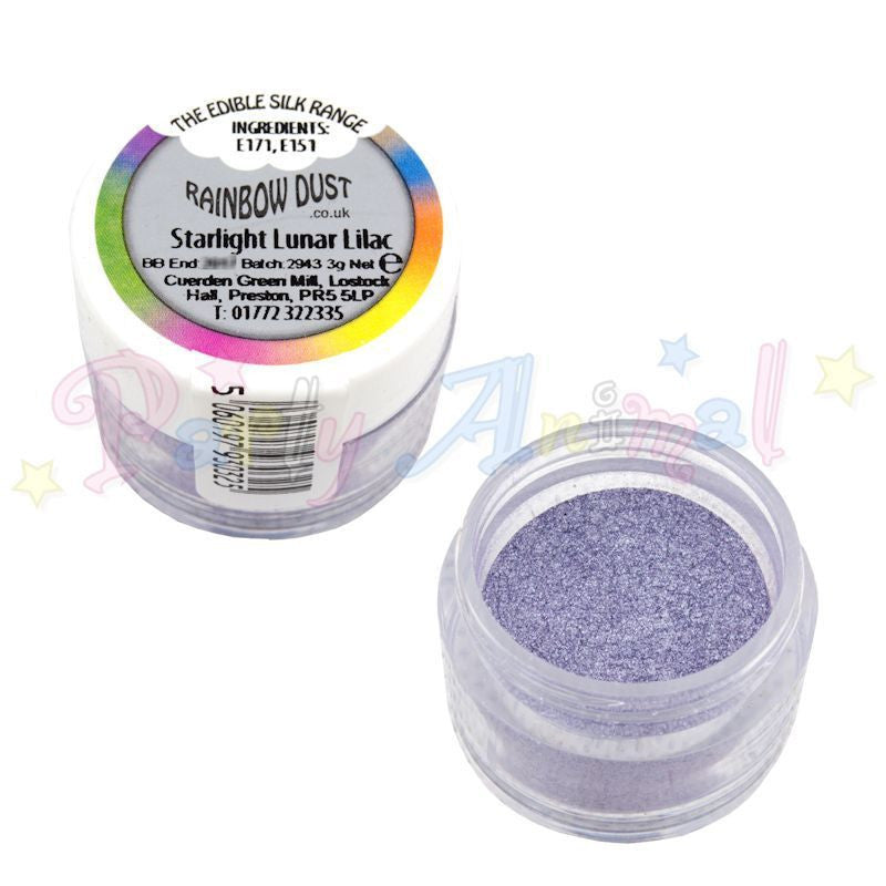 edible silk range. rainbow dust. starlight lunar lilac. for cake decorating.
