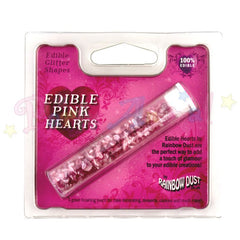 Rainbow Dust Edible Sprinkle Confetti Pink Pearlescent Hearts
