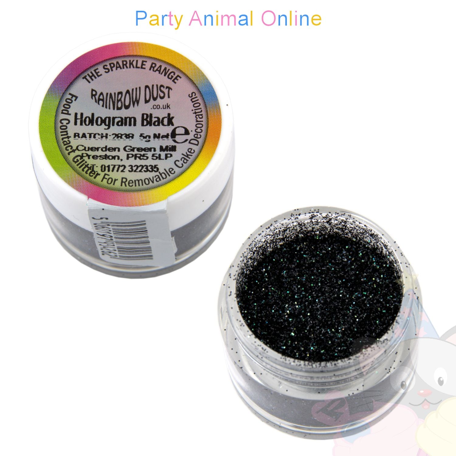 Rainbow Dust Glitter Sparkle Colours - HOLOGRAM BLACK